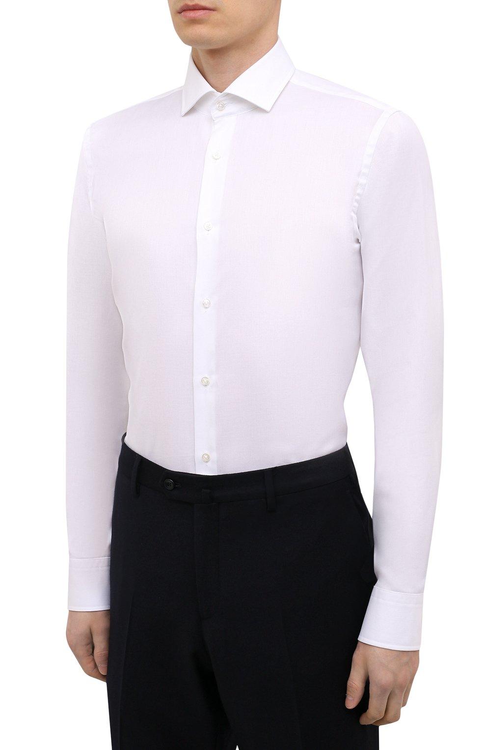 Мужская хлопковая сорочка BOSS белого цвета, арт. 50451171 | Фото 3