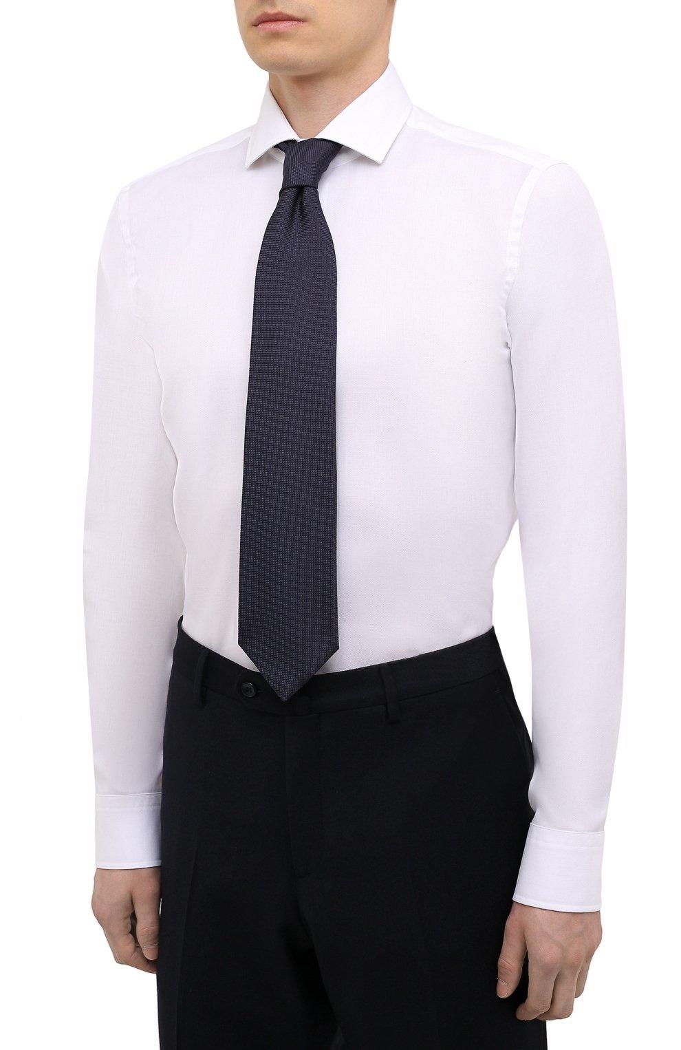 Мужская хлопковая сорочка BOSS белого цвета, арт. 50451171 | Фото 4