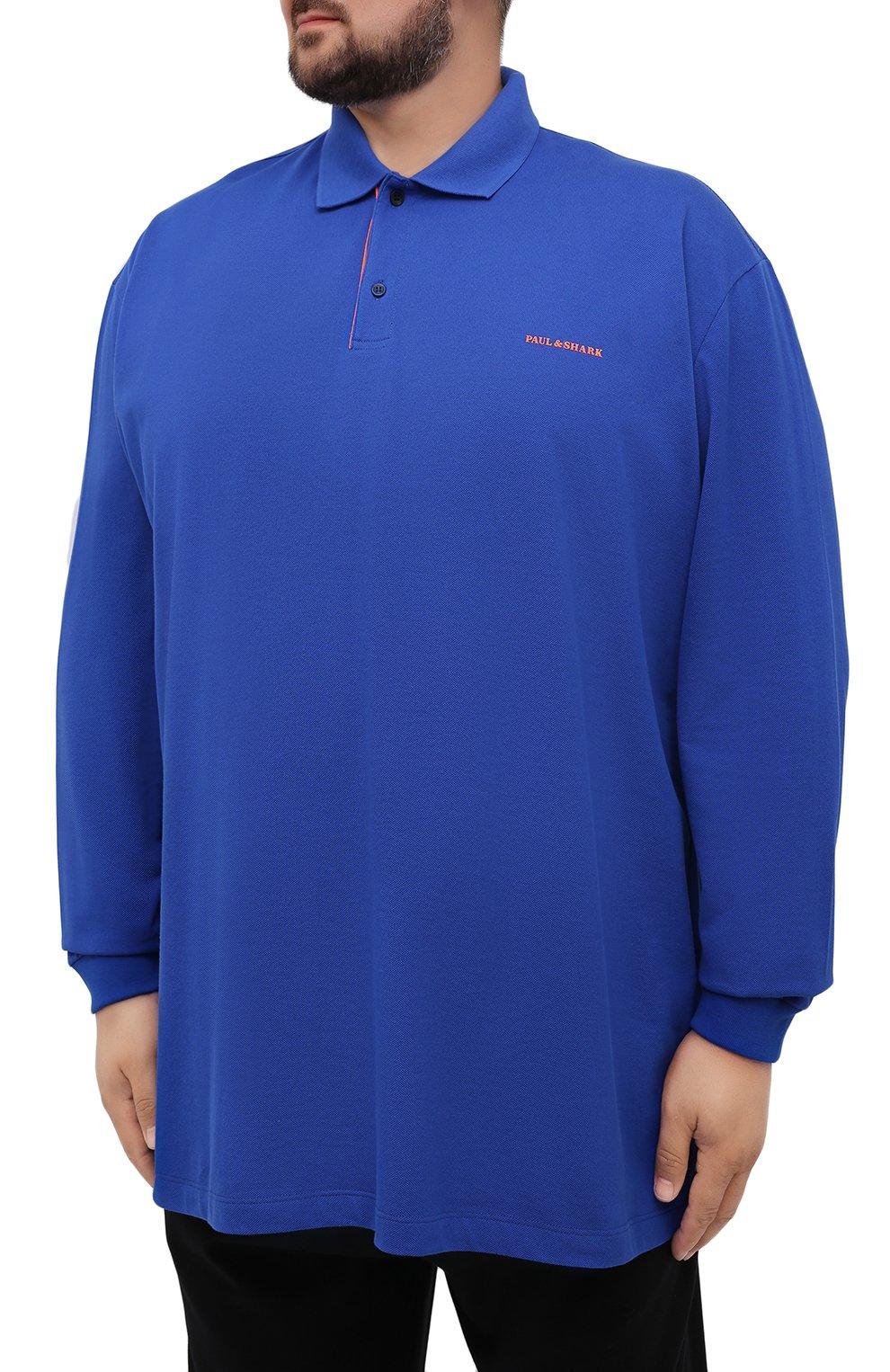 Мужское хлопковое поло PAUL&SHARK синего цвета, арт. 11311717/C00/3XL-6XL | Фото 3