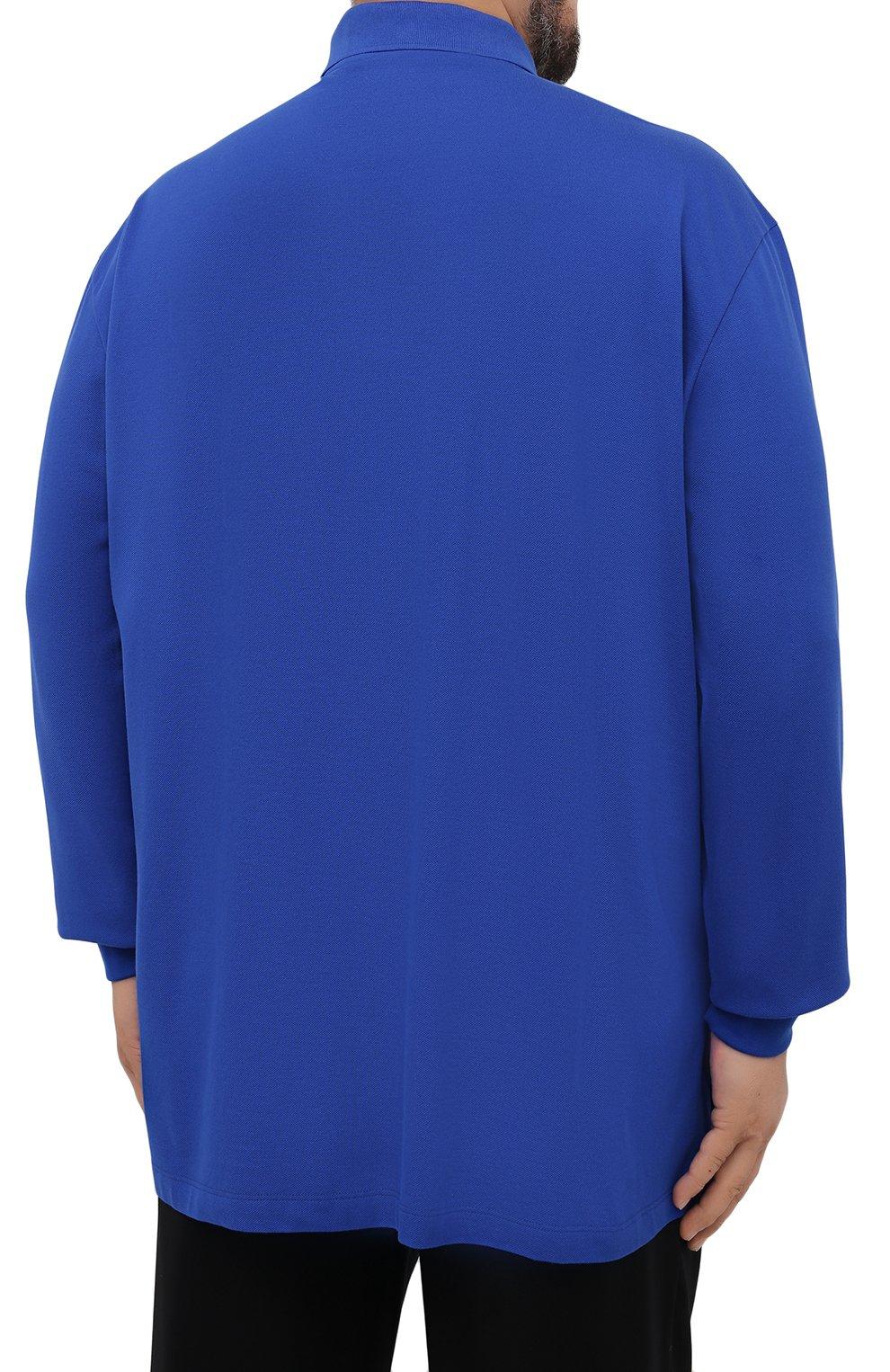 Мужское хлопковое поло PAUL&SHARK синего цвета, арт. 11311717/C00/3XL-6XL | Фото 4