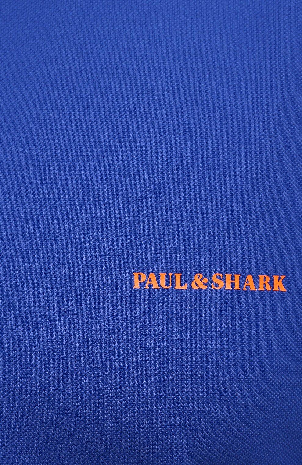 Мужское хлопковое поло PAUL&SHARK синего цвета, арт. 11311717/C00/3XL-6XL | Фото 5