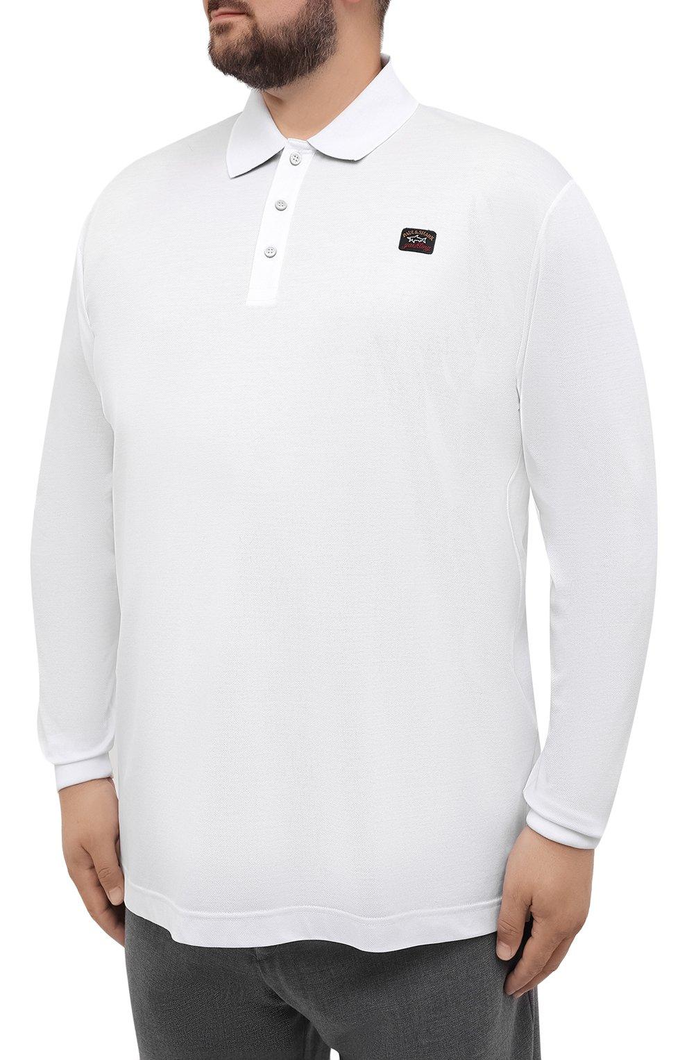 Мужское хлопковое поло PAUL&SHARK белого цвета, арт. 11311729/C00/3XL-6XL   Фото 3