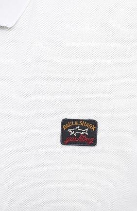 Мужское хлопковое поло PAUL&SHARK белого цвета, арт. 11311729/C00/3XL-6XL   Фото 5