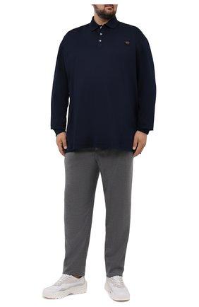 Мужское хлопковое поло PAUL&SHARK темно-синего цвета, арт. 11311729/C00/3XL-6XL   Фото 2