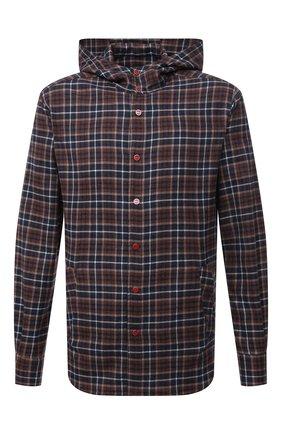 Мужская хлопковая рубашка KITON коричневого цвета, арт. UMCMARH0786704 | Фото 1