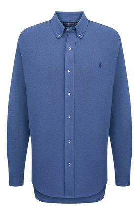 Мужская хлопковая рубашка POLO RALPH LAUREN синего цвета, арт. 711654408/C7998/PRL BS | Фото 1 (Материал внешний: Хлопок; Случай: Повседневный; Рукава: Длинные; Стили: Кэжуэл; Big sizes: Big Sizes; Длина (для топов): Удлиненные; Воротник: Button down; Принт: Однотонные; Манжеты: На пуговицах)