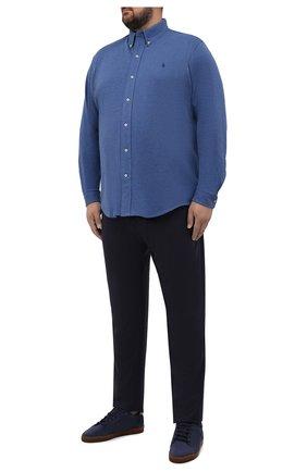 Мужская хлопковая рубашка POLO RALPH LAUREN синего цвета, арт. 711654408/C7998/PRL BS | Фото 2