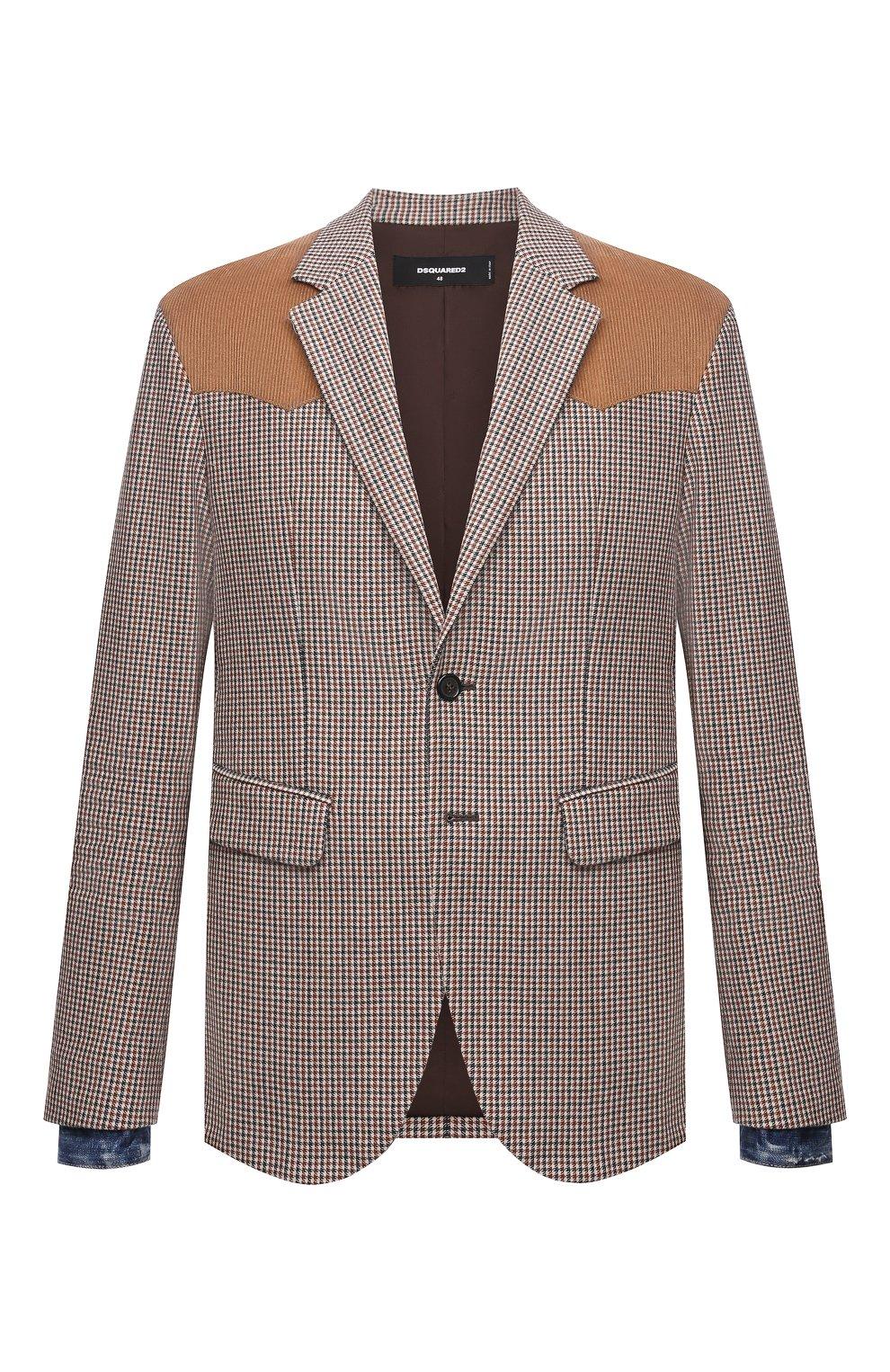 Мужской пиджак из шерсти и вискозы DSQUARED2 разноцветного цвета, арт. S74BN1083/S54011 | Фото 1 (Материал внешний: Шерсть; Рукава: Длинные; Случай: Повседневный; Длина (для топов): Стандартные; Материал подклада: Синтетический материал; 1-2-бортные: Однобортные; Пиджаки М: Приталенный; Стили: Кэжуэл)