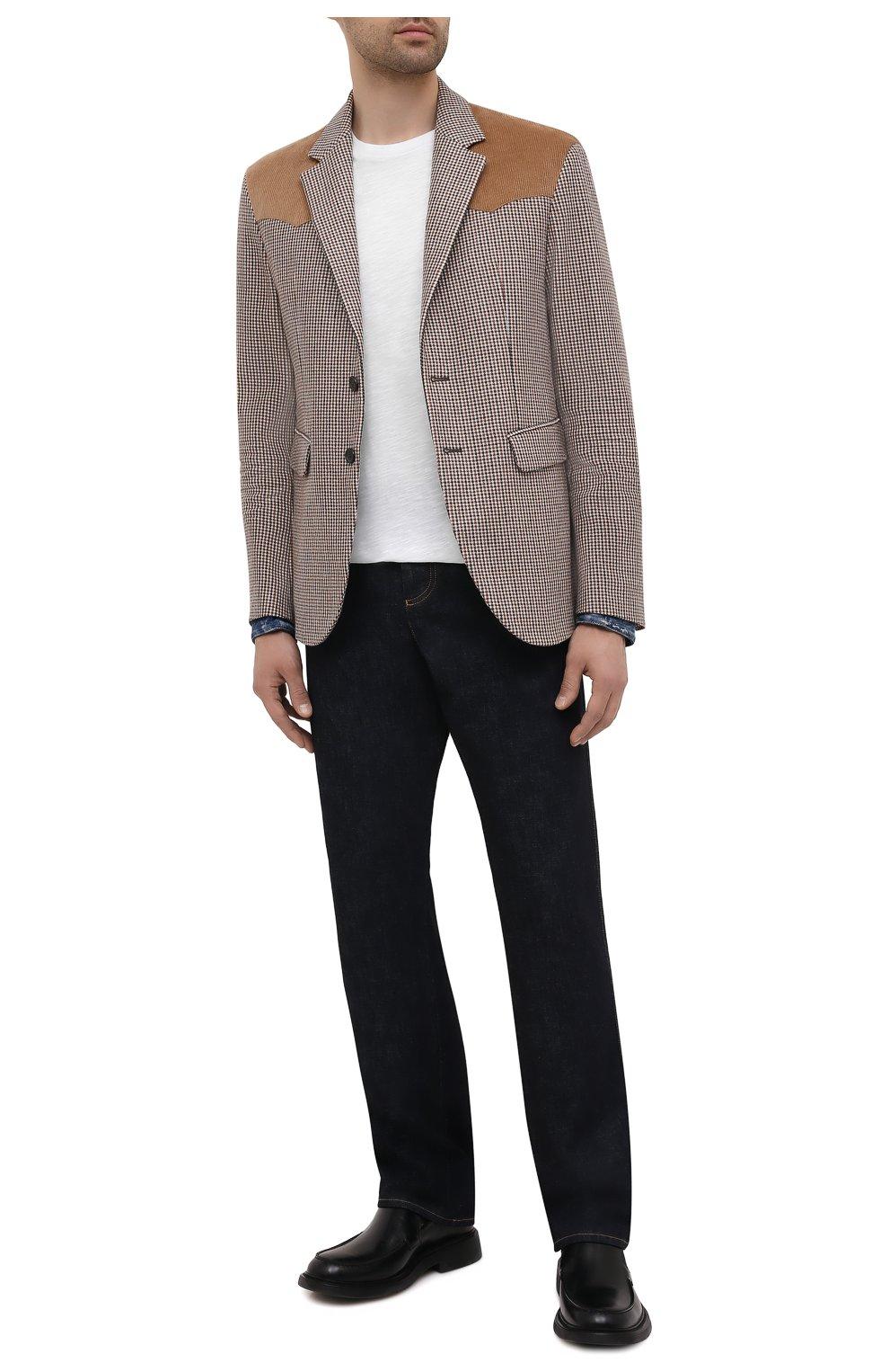 Мужской пиджак из шерсти и вискозы DSQUARED2 разноцветного цвета, арт. S74BN1083/S54011 | Фото 2 (Материал внешний: Шерсть; Рукава: Длинные; Случай: Повседневный; Длина (для топов): Стандартные; Материал подклада: Синтетический материал; 1-2-бортные: Однобортные; Пиджаки М: Приталенный; Стили: Кэжуэл)