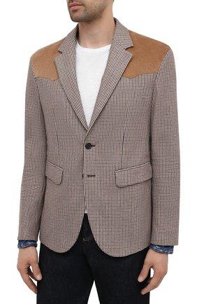 Мужской пиджак из шерсти и вискозы DSQUARED2 разноцветного цвета, арт. S74BN1083/S54011 | Фото 3 (Материал внешний: Шерсть; Рукава: Длинные; Случай: Повседневный; Длина (для топов): Стандартные; Материал подклада: Синтетический материал; 1-2-бортные: Однобортные; Пиджаки М: Приталенный; Стили: Кэжуэл)