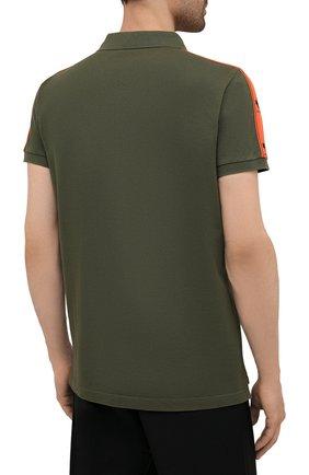 Мужское хлопковое поло DSQUARED2 хаки цвета, арт. S74GL0053/S22743 | Фото 4 (Застежка: Пуговицы; Рукава: Короткие; Длина (для топов): Стандартные; Стили: Милитари; Материал внешний: Хлопок)