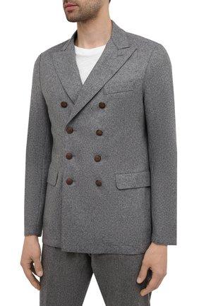 Мужской шерстяной пиджак ELEVENTY темно-серого цвета, арт. D70GIAD06 JAC24018 | Фото 3 (Материал внешний: Шерсть; Рукава: Длинные; Случай: Повседневный; Длина (для топов): Стандартные; Пиджаки М: Приталенный; Стили: Кэжуэл)