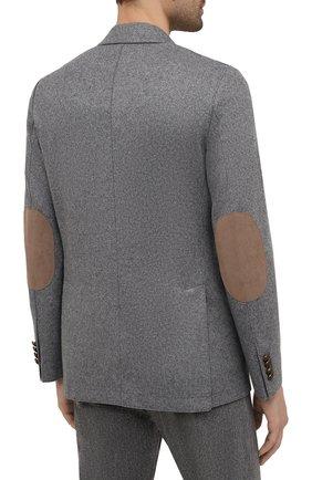 Мужской шерстяной пиджак ELEVENTY темно-серого цвета, арт. D70GIAD06 JAC24018 | Фото 4 (Материал внешний: Шерсть; Рукава: Длинные; Случай: Повседневный; Длина (для топов): Стандартные; Пиджаки М: Приталенный; Стили: Кэжуэл)