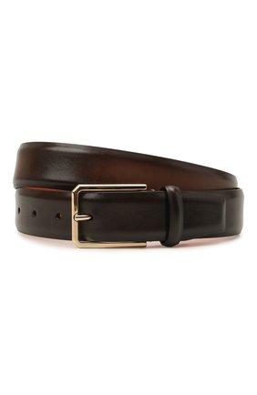 Мужской кожаный ремень SANTONI темно-коричневого цвета, арт. CM35VS003B91HFULT50 | Фото 1 (Случай: Формальный)