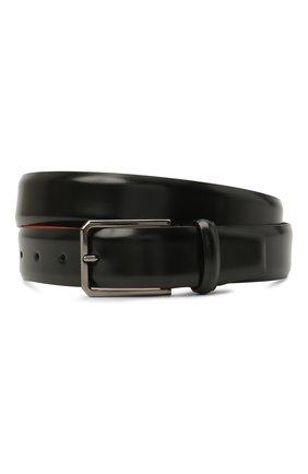 Мужской кожаный ремень SANTONI черного цвета, арт. CM35VS003B91GVVDN01 | Фото 1