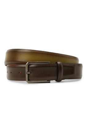 Мужской кожаный ремень SANTONI темно-зеленого цвета, арт. CM35VS003B91GFULV46 | Фото 1