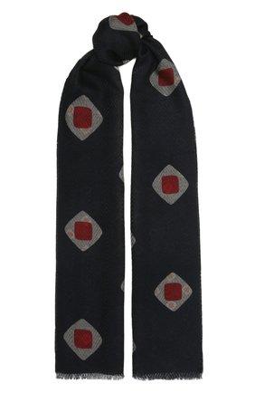 Мужской шерстяной шарф GIORGIO ARMANI темно-синего цвета, арт. 745007/1A107 | Фото 1