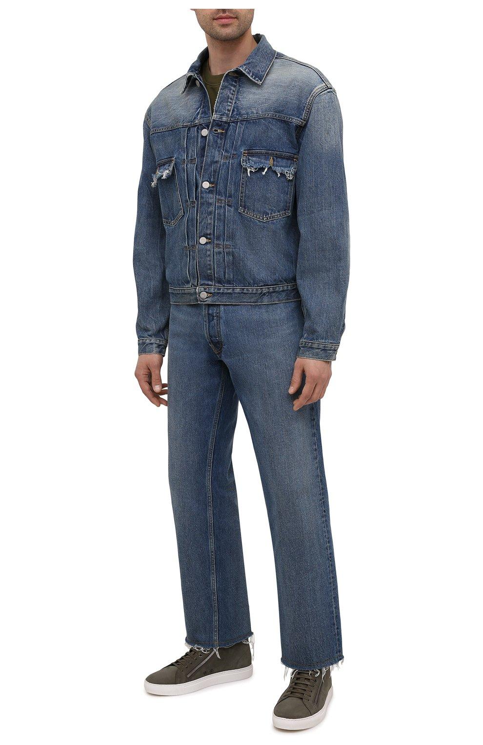 Мужские кожаные кеды HUGO хаки цвета, арт. 50433527   Фото 2 (Подошва: Массивная)
