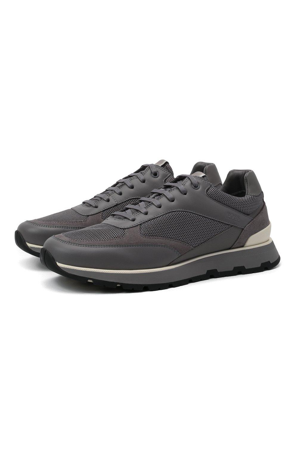 Мужские комбинированные кроссовки BOSS серого цвета, арт. 50452595 | Фото 1