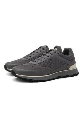 Мужские комбинированные кроссовки BOSS серого цвета, арт. 50452595 | Фото 1 (Материал внешний: Текстиль; Подошва: Массивная)