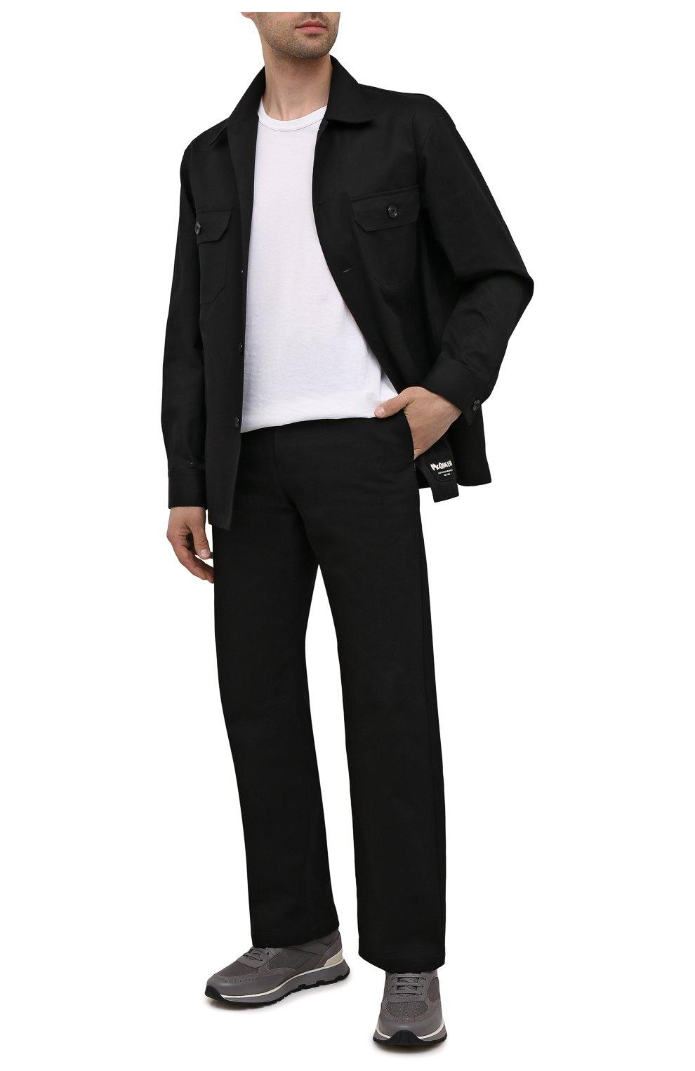 Мужские комбинированные кроссовки BOSS серого цвета, арт. 50452595 | Фото 2