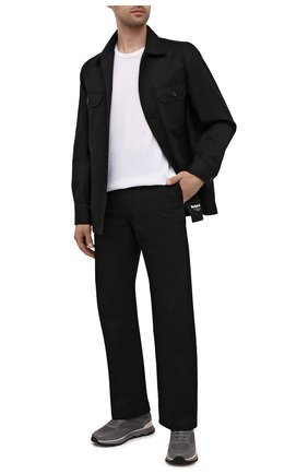 Мужские комбинированные кроссовки BOSS серого цвета, арт. 50452595 | Фото 2 (Материал внешний: Текстиль; Подошва: Массивная)