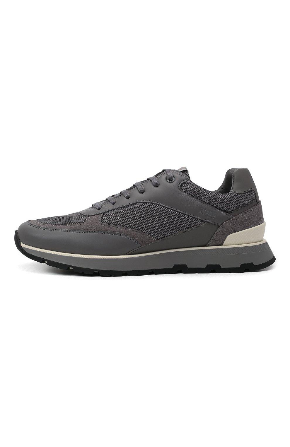 Мужские комбинированные кроссовки BOSS серого цвета, арт. 50452595 | Фото 3