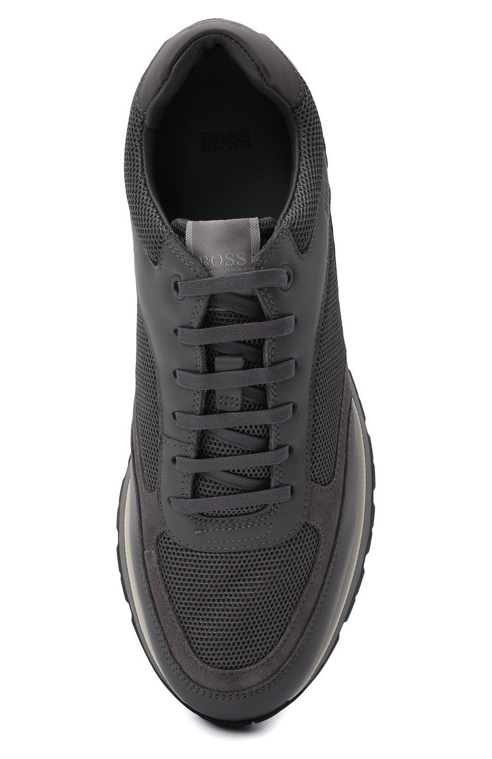 Мужские комбинированные кроссовки BOSS серого цвета, арт. 50452595 | Фото 5