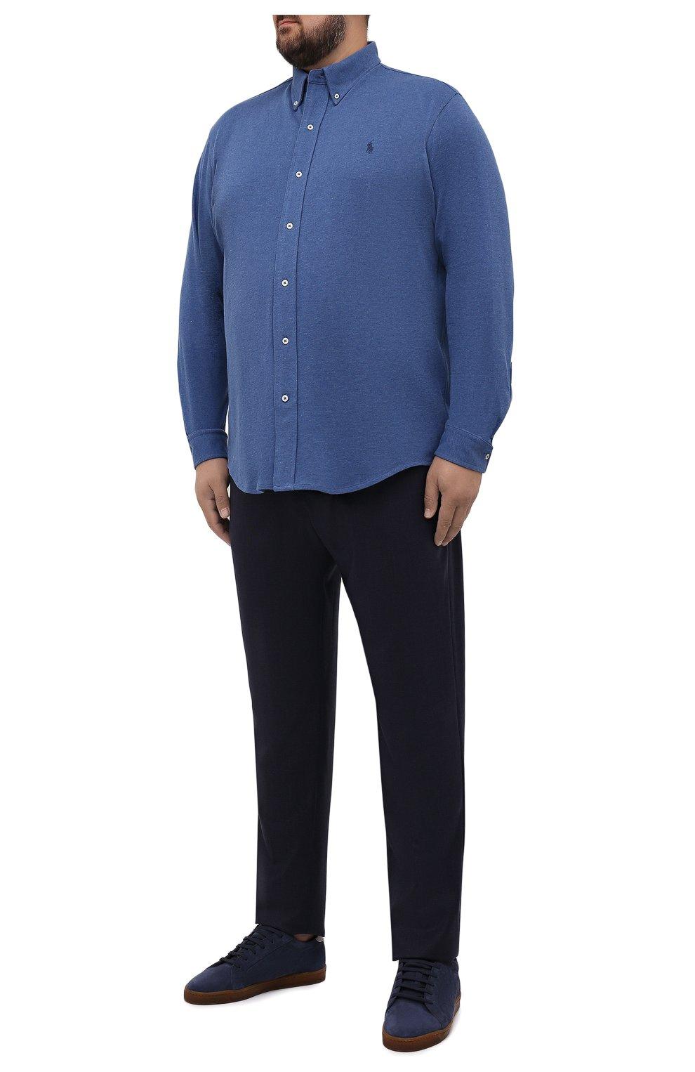 Мужские шерстяные брюки MARCO PESCAROLO темно-синего цвета, арт. CHIAIAM/ZIP+SFILA/4414 | Фото 2 (Big sizes: Big Sizes; Материал внешний: Шерсть; Длина (брюки, джинсы): Стандартные; Случай: Повседневный; Стили: Кэжуэл)