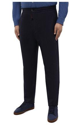 Мужские шерстяные брюки MARCO PESCAROLO темно-синего цвета, арт. CHIAIAM/ZIP+SFILA/4414 | Фото 3 (Big sizes: Big Sizes; Материал внешний: Шерсть; Длина (брюки, джинсы): Стандартные; Случай: Повседневный; Стили: Кэжуэл)