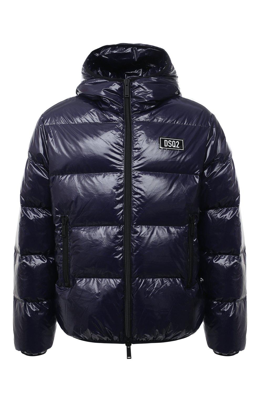 Мужская пуховая куртка DSQUARED2 темно-синего цвета, арт. S74AM1201/S54056   Фото 1 (Кросс-КТ: Куртка; Мужское Кросс-КТ: пуховик-короткий; Рукава: Длинные; Материал внешний: Синтетический материал; Стили: Гранж; Материал подклада: Синтетический материал; Длина (верхняя одежда): Короткие; Материал утеплителя: Пух и перо)