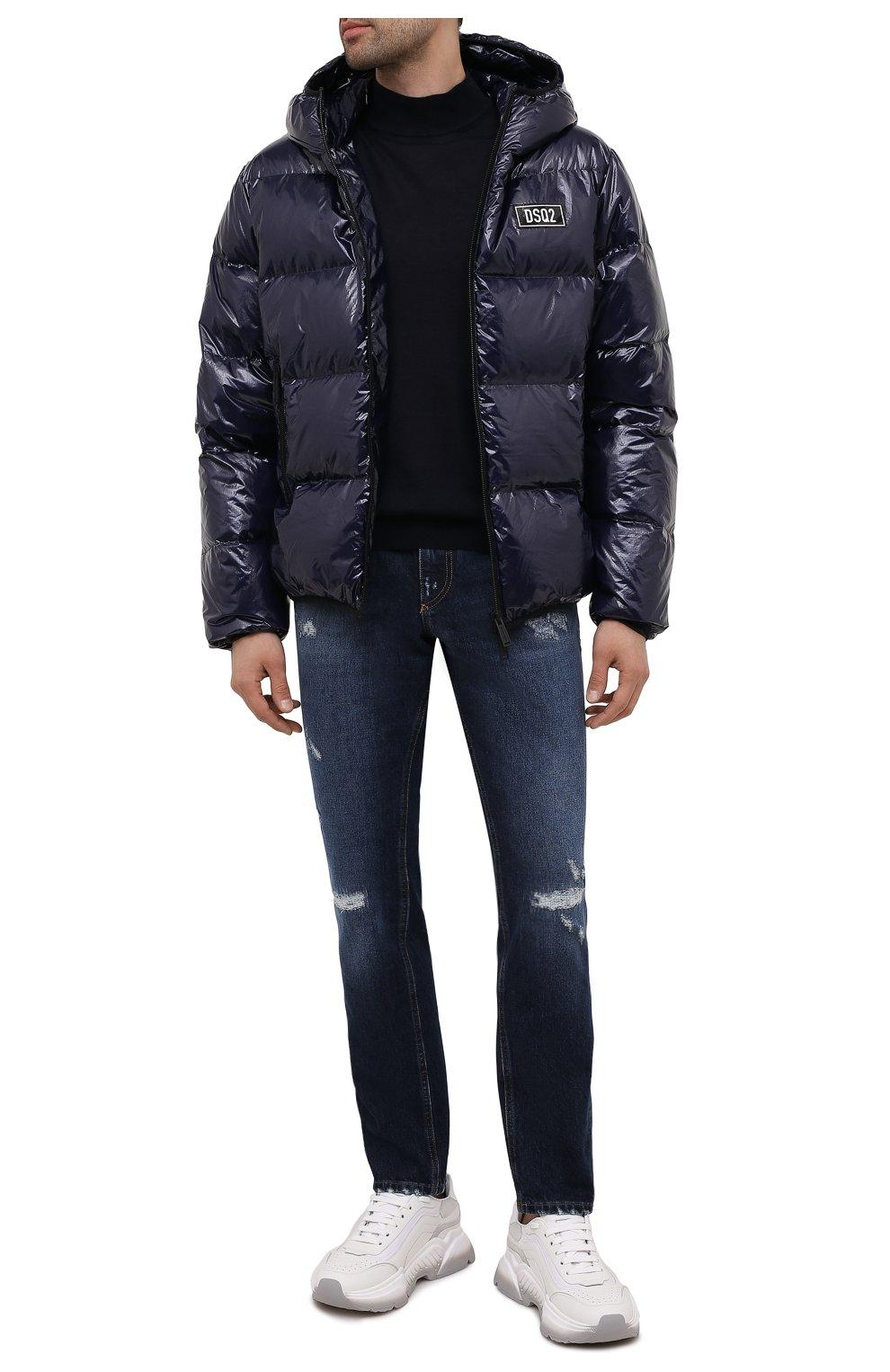 Мужская пуховая куртка DSQUARED2 темно-синего цвета, арт. S74AM1201/S54056   Фото 2 (Кросс-КТ: Куртка; Мужское Кросс-КТ: пуховик-короткий; Рукава: Длинные; Материал внешний: Синтетический материал; Стили: Гранж; Материал подклада: Синтетический материал; Длина (верхняя одежда): Короткие; Материал утеплителя: Пух и перо)