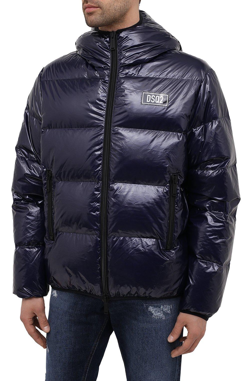 Мужская пуховая куртка DSQUARED2 темно-синего цвета, арт. S74AM1201/S54056   Фото 3 (Кросс-КТ: Куртка; Мужское Кросс-КТ: пуховик-короткий; Рукава: Длинные; Материал внешний: Синтетический материал; Стили: Гранж; Материал подклада: Синтетический материал; Длина (верхняя одежда): Короткие; Материал утеплителя: Пух и перо)