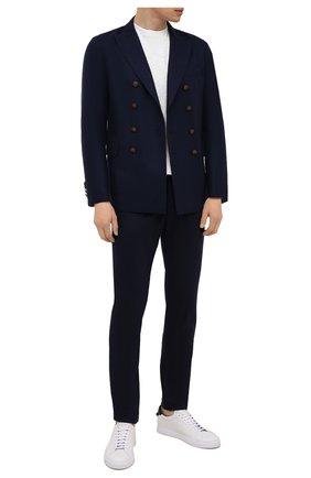 Мужские брюки из шерсти и кашемира ELEVENTY PLATINUM темно-синего цвета, арт. D75PANB21 TES0D037   Фото 2