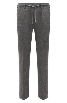 Мужские брюки из шерсти и кашемира ELEVENTY PLATINUM серого цвета, арт. D75PANB21 TES0D037 | Фото 1 (Материал внешний: Шерсть; Длина (брюки, джинсы): Стандартные; Случай: Повседневный; Стили: Кэжуэл)