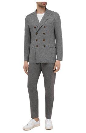 Мужские брюки из шерсти и кашемира ELEVENTY PLATINUM серого цвета, арт. D75PANB21 TES0D037   Фото 2