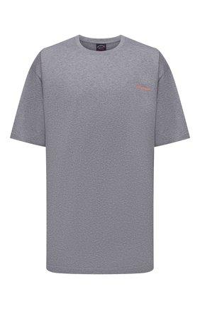 Мужская хлопковая футболка PAUL&SHARK серого цвета, арт. 11311624/C00/3XL-6XL   Фото 1
