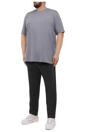 Мужская хлопковая футболка PAUL&SHARK серого цвета, арт. 11311624/C00/3XL-6XL   Фото 2