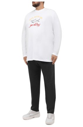 Мужская хлопковый лонгслив PAUL&SHARK белого цвета, арт. 11311643/C00/3XL-6XL | Фото 2 (Материал внешний: Хлопок; Рукава: Длинные; Стили: Кэжуэл)