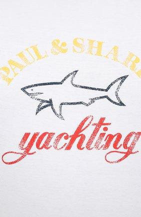 Мужская хлопковый лонгслив PAUL&SHARK белого цвета, арт. 11311643/C00/3XL-6XL | Фото 5
