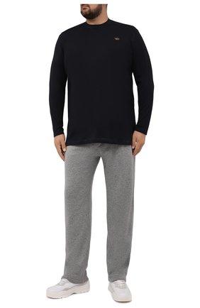 Мужская хлопковый лонгслив PAUL&SHARK черного цвета, арт. C0P1097/C00/3XL-6XL | Фото 2