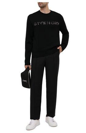Мужской шерстяной джемпер GIVENCHY черного цвета, арт. BM90GH4Y54 | Фото 2 (Рукава: Длинные; Материал внешний: Шерсть; Длина (для топов): Стандартные; Мужское Кросс-КТ: Джемперы; Вырез: Круглый; Стили: Кэжуэл; Принт: С принтом)
