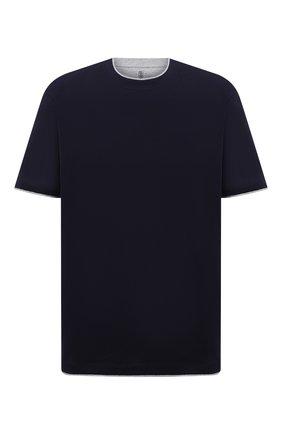 Мужская хлопковая футболка BRUNELLO CUCINELLI темно-синего цвета, арт. M0T717427W | Фото 1 (Рукава: Короткие; Материал внешний: Хлопок; Принт: Без принта; Стили: Кэжуэл; Big sizes: Big Sizes; Длина (для топов): Удлиненные)