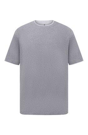 Мужская хлопковая футболка BRUNELLO CUCINELLI светло-серого цвета, арт. M0T717427W | Фото 1