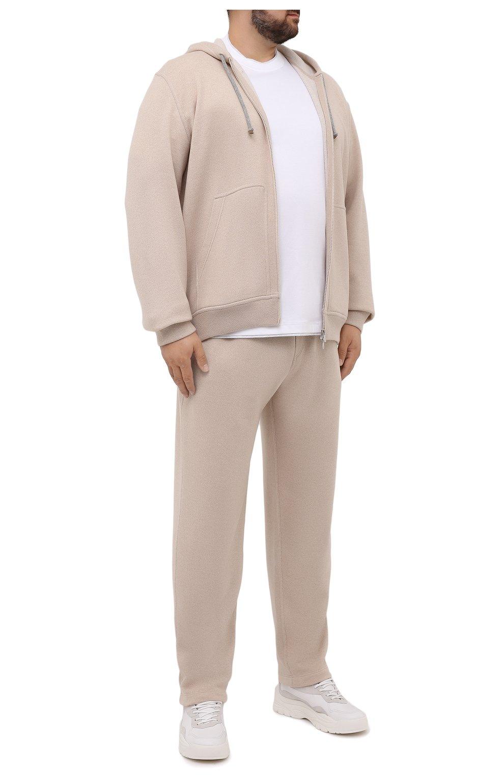 Мужская хлопковая футболка BRUNELLO CUCINELLI белого цвета, арт. M0T717427W   Фото 2 (Big sizes: Big Sizes; Принт: Без принта; Рукава: Короткие; Длина (для топов): Удлиненные; Материал внешний: Хлопок; Стили: Кэжуэл)