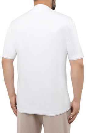 Мужская хлопковая футболка BRUNELLO CUCINELLI белого цвета, арт. M0T717427W   Фото 4 (Big sizes: Big Sizes; Принт: Без принта; Рукава: Короткие; Длина (для топов): Удлиненные; Материал внешний: Хлопок; Стили: Кэжуэл)