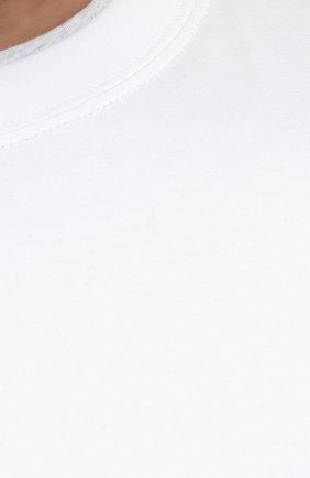 Мужская хлопковая футболка BRUNELLO CUCINELLI белого цвета, арт. M0T717427W   Фото 5 (Big sizes: Big Sizes; Принт: Без принта; Рукава: Короткие; Длина (для топов): Удлиненные; Материал внешний: Хлопок; Стили: Кэжуэл)
