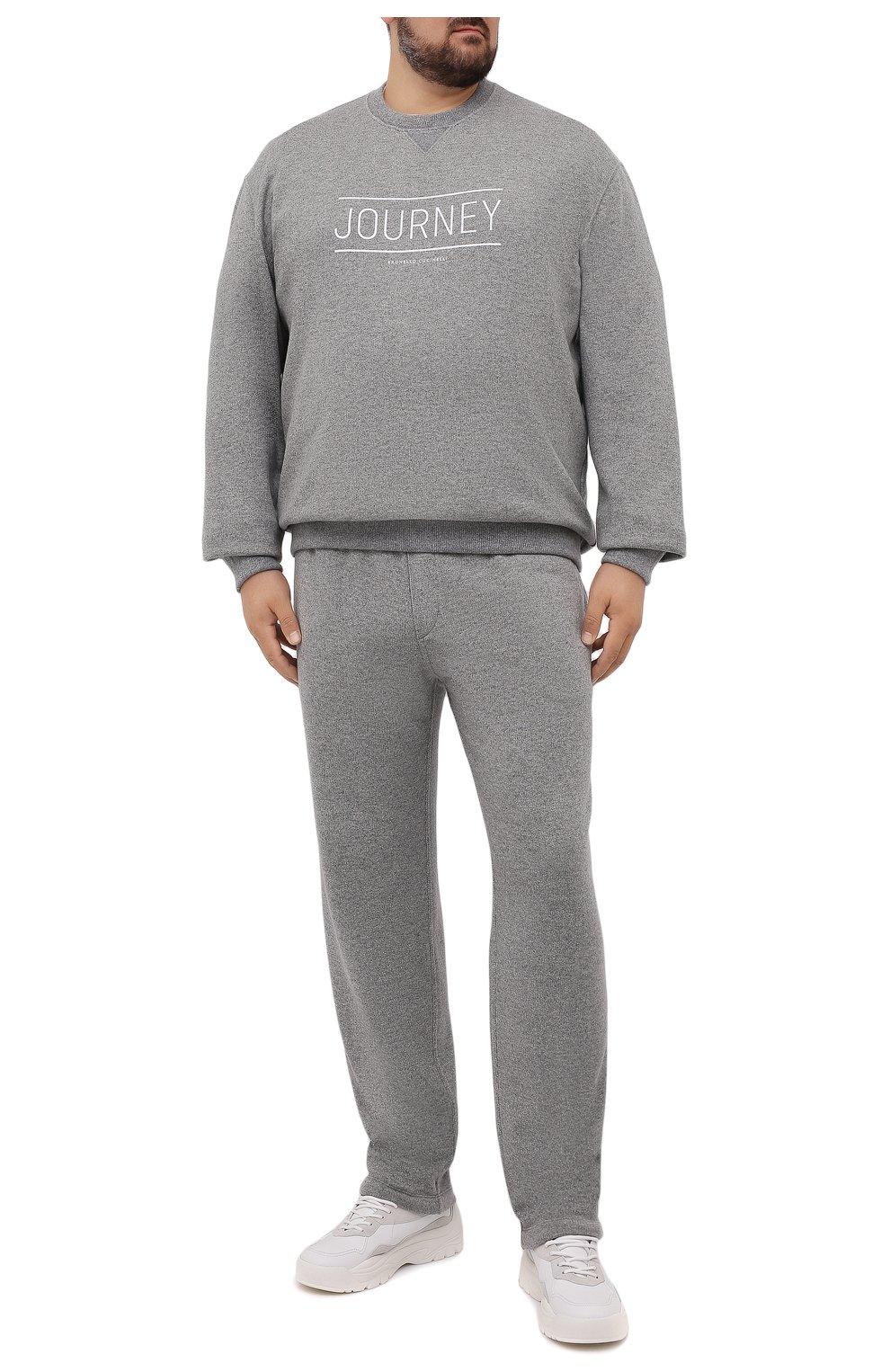 Мужской кашемировый свитшот BRUNELLO CUCINELLI серого цвета, арт. MTU063523W   Фото 2