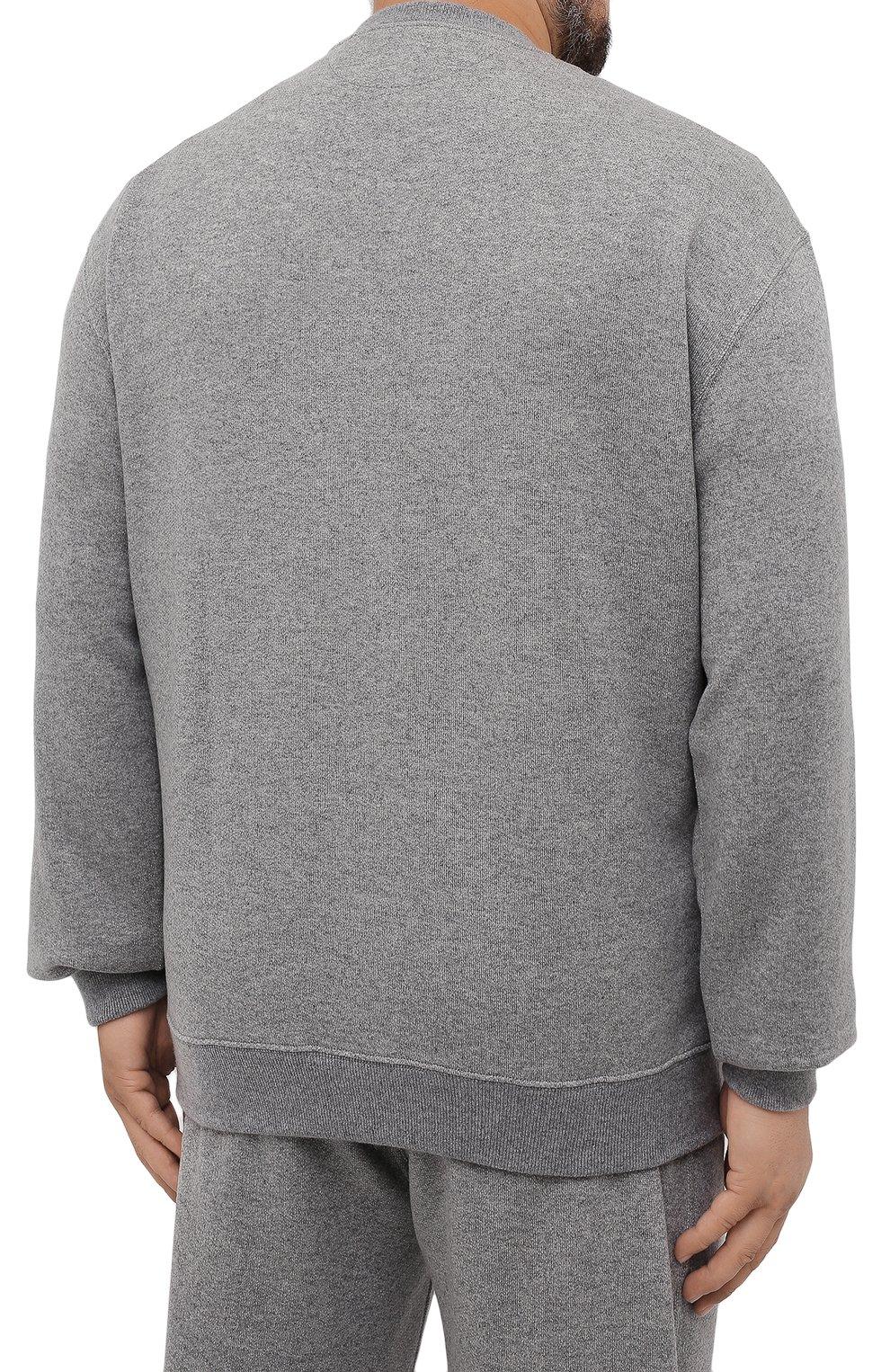 Мужской кашемировый свитшот BRUNELLO CUCINELLI серого цвета, арт. MTU063523W   Фото 4