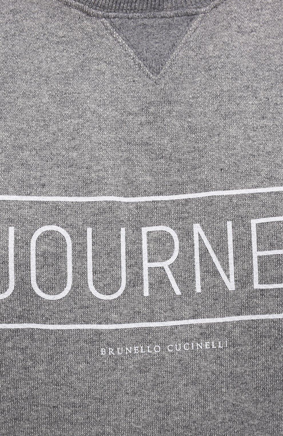 Мужской кашемировый свитшот BRUNELLO CUCINELLI серого цвета, арт. MTU063523W   Фото 5